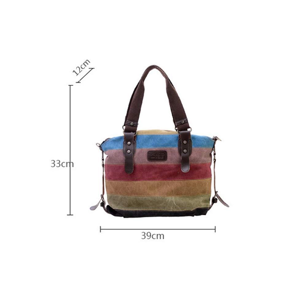 Fenfen-snb kanvas handväska flerfärgade randiga gallerverk korskropp axelväska väska tyg-handväska för kvinnor Flerfärgade