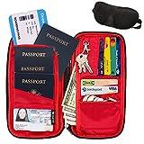 RFID Travel Wallet & Document Organizer Bag, Family Passport Holder + Sleep Mask