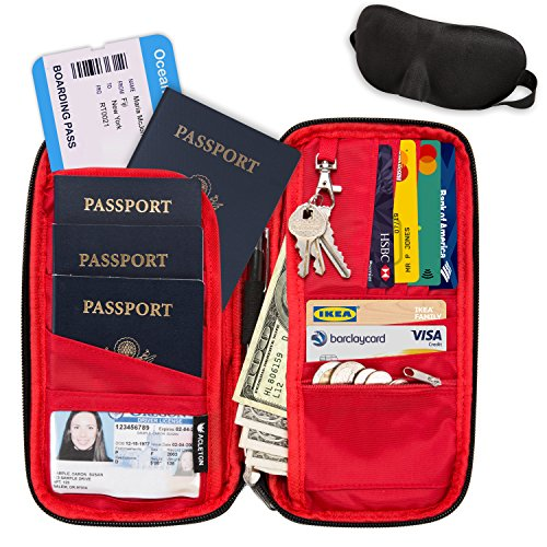 RFID Travel Wallet & Document Organizer Bag, Family Passport Holder + Sleep Mask by Acleton