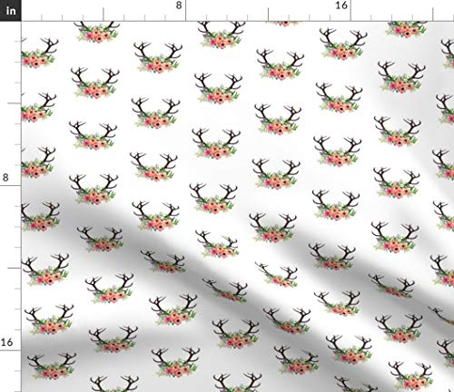 Spoonflower Deer Fabric - Boho Antler Watercolor Deer Flowers Rustic Woodland Watercolor Shabby Chic Wedding Floral by Shopcabin Printed on Petal Signature Cotton Fabric by The Yard