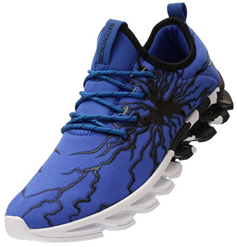 (BRONAX Blue Sneakers for Men Comfortable Lightweight Slip on Sport Fitness Athletic Tennis Shoes Zapatos de Hombre Size 9.5)