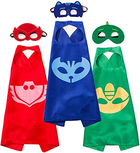 Funhall Costumes and Dress up for Kids - Capes and Masks for Catboy Owlette Gekko Green -