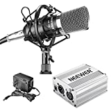 Neewer NW-700 Professional Condenser Microphone and Phantom Power Kit with Mic Shock Mount,48V Phantom Power Supply(Silver), XLR Audio Cable for Home Studio Sound Recording, Podcasting