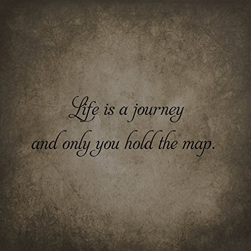 Life Is A Journey & Only You Hold The Map Novelty Square Aluminum Metal Sign Dark Grey Background Black Lettering