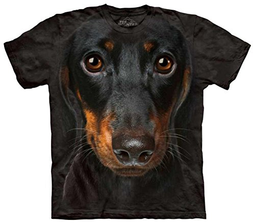 Mountain Dachshund Head Adult Size T-shirt , Black , Medium (Ink T-shirt Heavyweight Black)