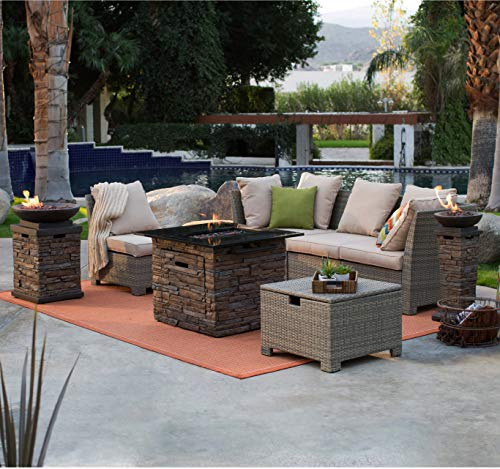 Fire Pit Set. 4 Seating, Outdoor, Universal Furniture Kit of Steel, Resin Wicker for Porch, Lawn, Pool, Garden, Conversation. Outside, Fireplace & Coffee Tables, Sectional Sofa, Ottoman, Cushions