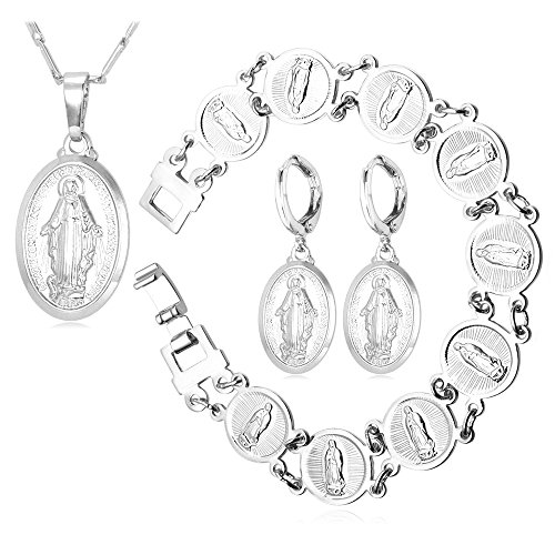 Virgin Mary Necklace Jesus Pieces Jewelry Platinum Plated Pendant Bracelet Earrings Jewelry Set