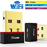 WiFi Mini USB Adapter, Costech Gold Plated Dongle Wireless-N Nano 802.11n/b/g Support Windows 10,8,7,Vista,XP & MAC OS for Desktop,Laptop,Computers