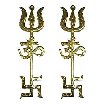 Amazon Uncommon Stuffs Brass Om Swastik Trishul Set Of 2