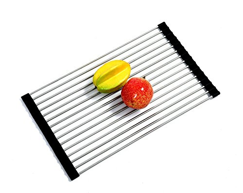 iLifeTech Roll-up Dish Drying Rack/ Mat, Kitchen Sink Protector, Black by iLifeTech