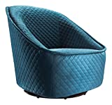 Pug Swivel Chair Quilted Aquamarine Dimensions 34.3''W x 33.5''D x 33.7''H Weight 40 lbs
