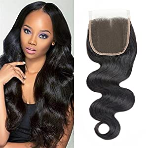 DMS 3 part closure straight hair 4x4inch Silk Closure Unprocessed Virgin Human Hair 130% Density Virgin Brazilian Hair Natural Color (Straight 8inch, 3 part)