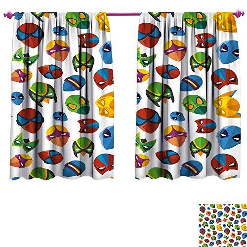 Superhero Window Curtain Fabric Legendary Cartoon Character Masks Flash Batman Spider-Man Comic Costume Print Drapes for Living Room W120 x L72 Multicolor