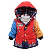 Happy Cherry Toddler Kids Hooded Jacket Coat Outerwear Snow Wear for Boys