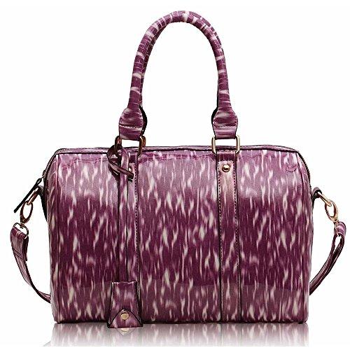 Asa De hombro Trendstar En La parte superior De La moda De las mujeres bolsos De mano, piel sintética, ORT.K7051-Petate Célébrité Style A F - Purple