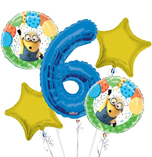 Minions Despicable Me Balloon Bouquet 6th Birthday 5 pcs - Party Supplies]()