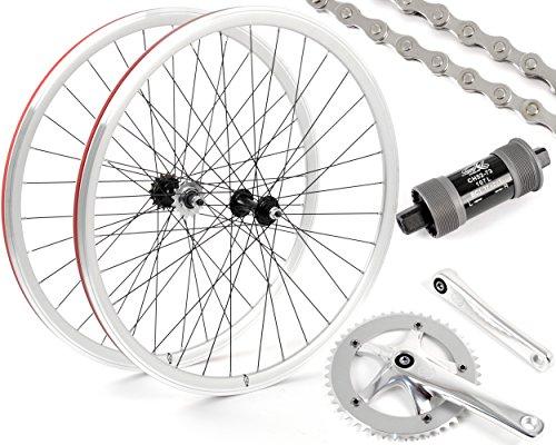 Eighth Inch Fixed Gear/Single Speed Conversion Kit 700c Wheelset Cranks // Silver (Best Single Speed Wheelset)