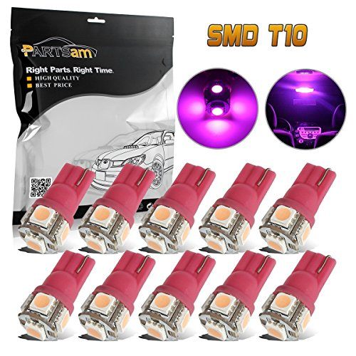 Partsam 10PCS Pink Purple T10 Wedge 194 168 W5W Interior Dome Map Lights Lamp Bulbs 12V 5SMD 5050 LED