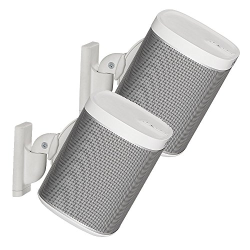 Sanus Wireless Speaker Wall Mounts for Sonos PLAY:1 & PLAY:3 - Tool Free Tilt & Swivel Adjustments For Best Audio - Pair (White) - WSWM2-W1