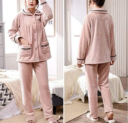 Señoras Pink Servicio Invierno Traje Pijamas Cálida Franela Bedgown De Hogar Gruesa Leeqn Solapa Comodidad qtfdFwfOx