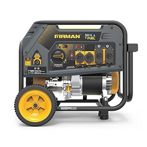 Firman H05754 7125/5700 Watt 120/240V Recoil Start Gas or Propane Dual Fuel Portable