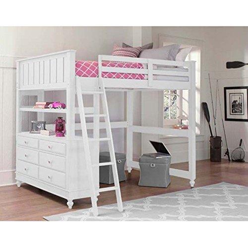 Kids Full Wood - NE Kids Lake House Full Loft Bed with Desk in White