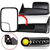 ECCPP Towing Mirror fit for 94-01 Dodge Ram 1500 94-02 Ram 2500 3500 w/Support Brackets Manual Black Side View Mirrors