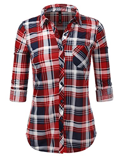 Checkered Long Sleeve Collared Button Down Plaid Flannel Shirt NavyRed M (Checkered Flannel)