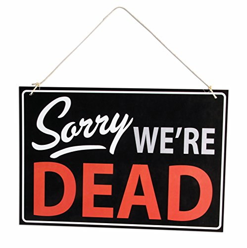 Forum Halloween Sorry We're Dead Retail Store Sign, Black White - Forum The Stores