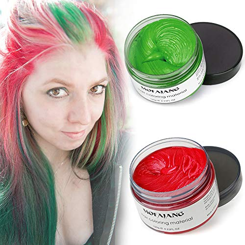 Mofajang Hair Color Wax,INST Temporary Hair Dye,Hair Coloring Wax,Washable Temporary, Natural Hairstyle Color Wax for Party,Halloween,Cosplay (Green+Red) -