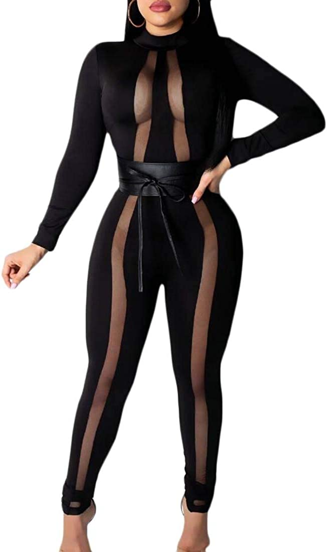 Lutratocro Womens Long Sleeve Mesh Backless Belted Club Jumpsuit Romper
