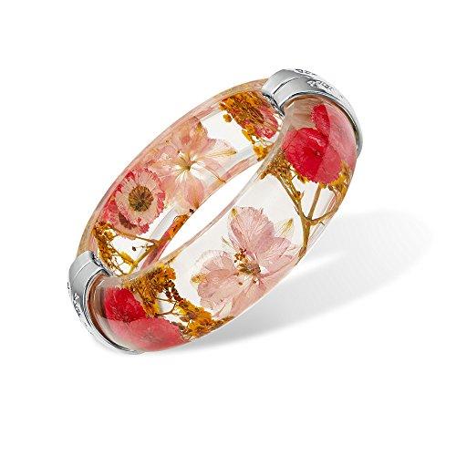 (IDesign Nature Dry Flower Resin Bracelet Bangle Wedding Bracelet Plastic Bracelet for Women Girls in Spring Summer Gift for Mother's Day (Mix Pink))
