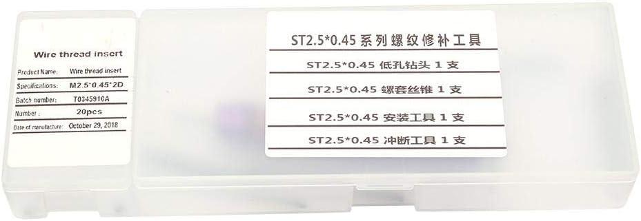 0.45 Inserti filettati a vite Set di strumenti di riparazione Kit di installazione dellinserto per filo per la riparazione automobilistica Kit di riparazione del filo M2.5
