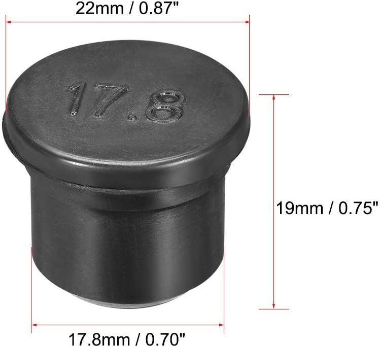 3 pieces Rubber plug DealMux SPR-178 EPDM Seal hole insertion plug 17 mm diameter black for stuffing box