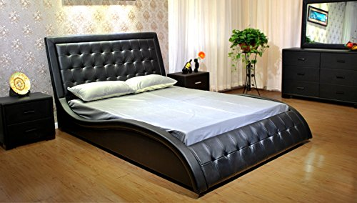 GREATIME B1136-2 California King Black Platform Bed