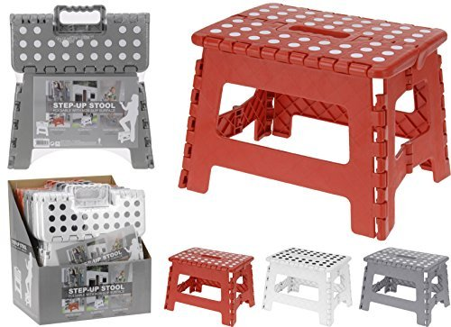 Excellent Houseware Small Folding Step Stool - 100 Kg Capacity (Red)