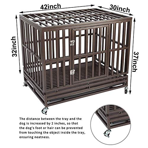 Haige Pet Your Pet Nanny 42'' Heavy Duty Dog Crate Cage Kennel and Playpen Steel Strong Metal for Medium and Large Dogs with Patent Lock and Four Lockable Wheels, Black by Haige Pet Your Pet Nanny (Image #6)