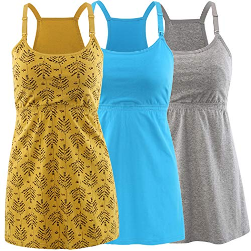 KUCI Maternity Nursing Top Tank Cami, Women Maternity Nursing Sleep Bra Breastfeeding Tops for Pregnancy (Small, Grey+Yellow+Lake Blue/3Pack)