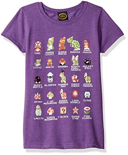 Nintendo Little Girls Super Mario Pixel Cast Graphic Tee, Purple Berry, M