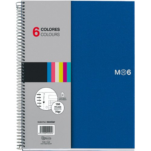 - Miquelrius 8.5 x11 Wirebound Notebook, 6-Subject, College Ruled, Blue