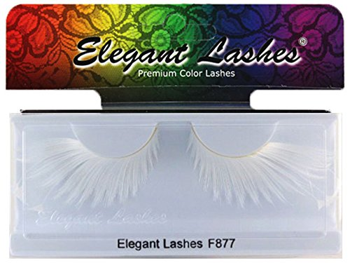 Elegant Lashes F877 Premium White Feather False Eyelashes Halloween Dance Rave Costume (White Feather Lashes)
