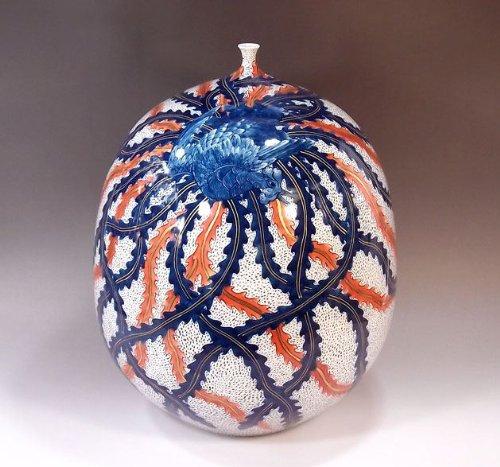 有田焼伊万里焼|花瓶陶器花器壺|贈答品|高級ギフト|記念品|贈り物|金彩鳳凰藤井錦彩 B00HQA4QHK