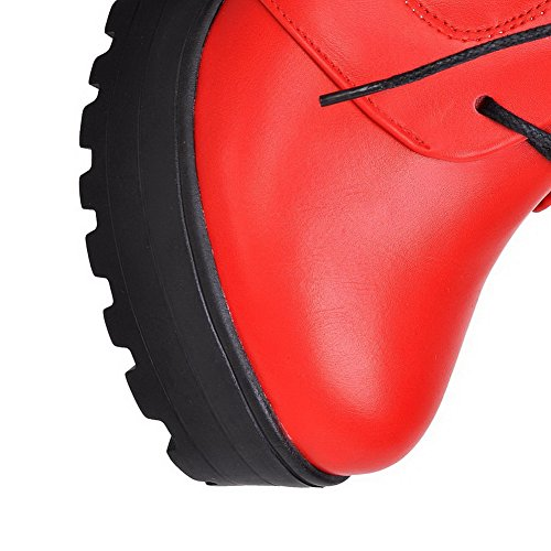 Zipper Womens Soft AllhqFashion top Low Heels Closed Red Material Round Boots High Toe xqUSqTw