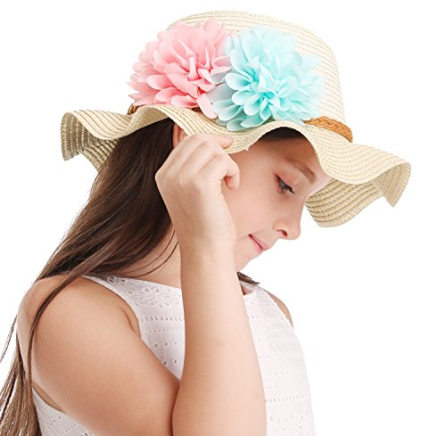 Bienvenu Little Girls Straw Floral Wide Large Brim Beach Sun Hat Cap,Beige