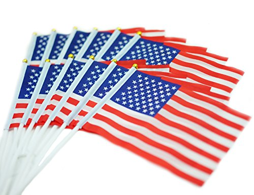 US Stick Flag - Top Quality Mini American Stick Flag/ Small US Flag/ Small American Flag 5 by 8 Inch 12-Pack