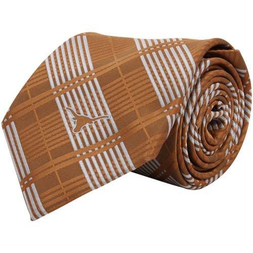 (Texas Longhorns Burnt Orange Poly Plaid Woven Tie)