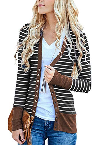 (Marysay Women's Striped Long Sleeve Knitwears Snap Button Down Knit Ribbed Neckline Cardigans Purple Medium)
