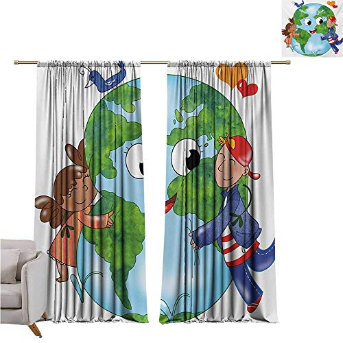 - alisoso Earth,Short Blackout Drapes Two Cute Kids Hugging Happy Planet Earth Bird and Hearts Embracing in Cartoon Style W120 x L96 Big Window Drapes