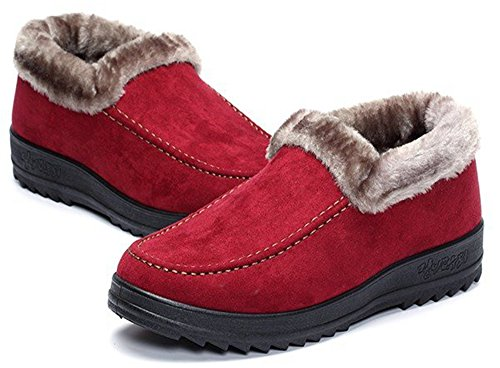 Image of Labato Style Women's Winter Short Snow Boots Warm Slip-on Walking Shoes Fur Lined Footwear …
