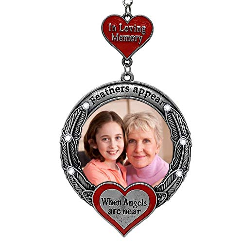 BANBERRY DESIGNS Memorial Christmas Ornament - Feathers Appear When Angels are Near - Holiday Picture Ornament - in Loving Memory (Memory Christmas Ornaments Loving)